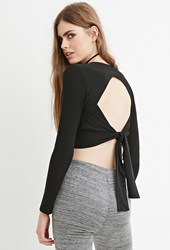 Forever 21 Contemporary Cutout Back Crop Top Black