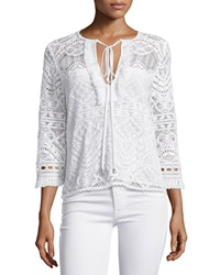 Nanette Lepore 3 4 Sleeve Lace Embroidered Top Women's Size 0 Ivory