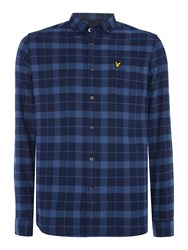 Lyle And Scott Men's Long Sleeve Check Flannel Shirt Navy