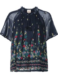 Sea Floral Print Semi Sheer Blouse Blue
