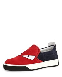 Fendi Monster Suede Slip On Sneaker Red