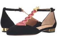 Charlotte Olympia Sci Fi Flats Black Gold Women's Dress Flat Shoes