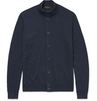 Loro Piana Wool Silk And Cashmere Blend Cardigan Navy