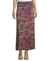 Joan Vass New York Printed Ruched Waist A Line Maxi Skirt Patchwork Print