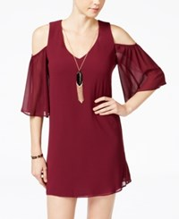 Amy Byer Bcx Juniors' Cold Shoulder Shift Dress With Necklace Bordeaux