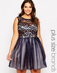 Lipstick Boutique Plus Lace Overlay Prom Dress Navy