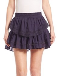 Loveshackfancy Ruffled Crochet Tiered Mini Skirt Indigo