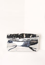 Missguided High Shine Roll Top Clutch Bag Silver Grey