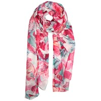 Dents Ladies Large Graphic Floral Print Scarf Fuchsia