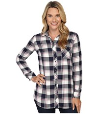 Kut From The Kloth Collin Navy Pink Women's Long Sleeve Button Up