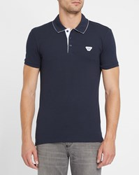 Armani Jeans Navy Logo Inside Collar Slim Fit Polo Shirt Blue