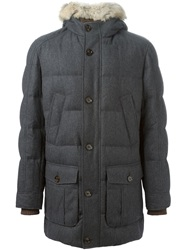 Brunello Cucinelli Fox Fur Trim Padded Coat Grey