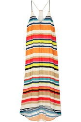 Alice Olivia Cortes Striped Georgette Midi Dress White Orange