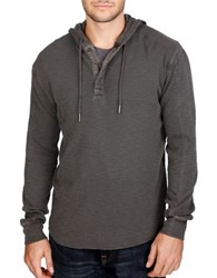 Lucky Brand Liven In Hooded Thermal Henley Black
