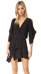 Michelle Mason Open Shoulder Mini Dress Black