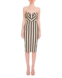 Victoria Beckham Strapless Wavy Gingham Dress Black White Black White