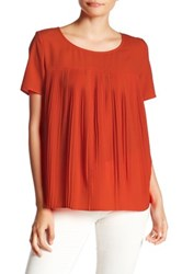French Connection Polly Plains Short Sleeve Pleated Tee Red