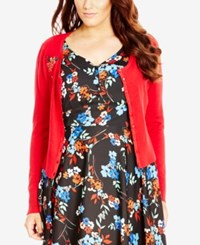 City Chic Plus Size Cherry Bomb Embroidered Cardigan