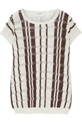 Bailey 44 Zemmour Paneled Linen And Cotton Blend Sweater Cream