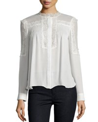 Haute Hippie Lace Trim Collarless Pintucked Silk Blouse Swan