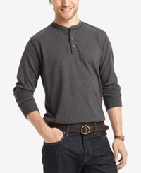 G.H. Bass And Co. Men's Long Sleeve Henley Black Heather