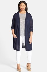 Plus Size Women's Halogen Open Front Long Cardigan Navy Peacoat