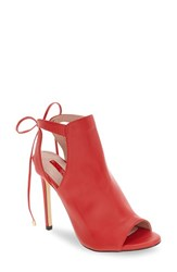 Topshop Women's 'Randy' Tie Back Sandal Red Leather