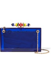 Charlotte Olympia Dora 1920 Embellished Perspex Clutch Blue