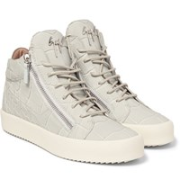Giuseppe Zanotti Croc Effect Leather High Top Sneakers Gray