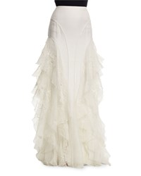 Ralph Lauren Collection Embroidered Silk Organza Maxi Skirt Off White Girl's Size 18 15 Off White