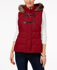 Charter Club Petite Faux Fur Trim Puffer Vest Only At Macy's New Red Amore