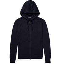 John Smedley Rickon Merino Wool Zip Up Hoodie Blue
