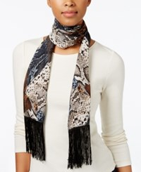 Inc International Concepts Snakeskin Print Fringe Wrap Only At Macy's Chambray