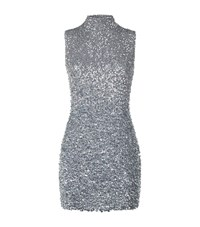 Harrods Of London Sequin High Neck Mini Dress Female Silver
