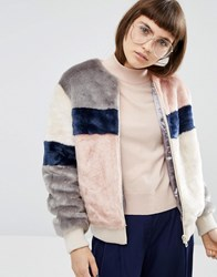 Asos Bomber Jacket In Patched Faux Fur Multi