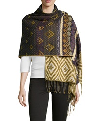 Theodora And Callum Diamond Print Fringe Blanket Wrap Indigo