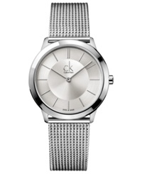 Calvin Klein Watch Men's Swiss Minimal Stainless Steel Mesh Bracelet 35Mm K3m22126