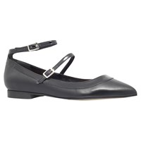 Carvela Lucy Cross Strap Pointed Toe Flat Pumps Black Leather