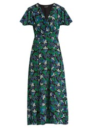 Saloni Josee Floral Print Silk Midi Dress Green Print