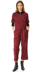 Just Female Rufus Suede Jumpsuit Oxblood