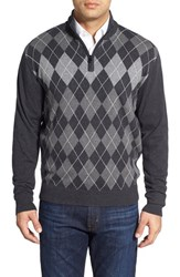 Men's Cutter And Buck 'Blackcomb' Quarter Zip Argyle Knit Pullover
