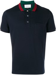Gucci Striped Collar Polo T Shirt Navy Blue Green Red