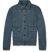 Rrl Chunky Knit Cotton Cardigan Blue