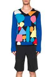 Comme Des Garcons Shirt Geometric Intarsia Sweater In Geometric Print Blue