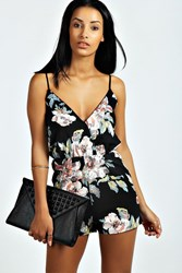 Boohoo Floral Print Playsuit Black