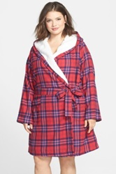 Nordstrom Fleece Lined Flannel Robe Plus Size Red