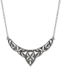 2028 Hematite Tone Pave Filigree Openwork Collar Necklace Silver