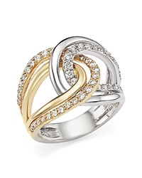 Bloomingdale's Diamond Two Tone Crossover Ring In 14K White And Yellow Gold .65 Ct. T.W. White Gold