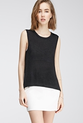 Forever 21 Asymmetrical Loose Knit Top Black