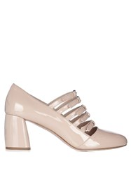 Miu Miu Multi Strap Patent Leather Mid High Pumps Nude